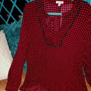 Tops - HOLIDAY RED BLACK BUFFALO PLAID PLUS SZ DRESS TOP